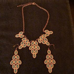 Turquoise Park Lane Necklace and dangling earrings